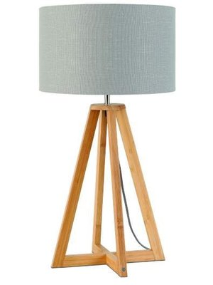 GOOD&MOJO Tafellamp bamboe 4-poten Everest, linen licht grijs