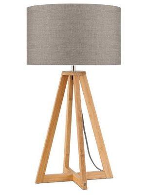 GOOD&MOJO Tafellamp bamboe 4-poten Everest, linen donker