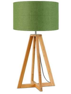 GOOD&MOJO Tafellamp bamboe 4-poten Everest, linen green forest