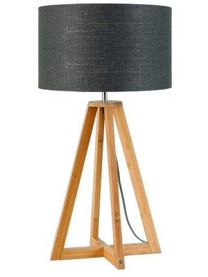 GOOD&MOJO Tafellamp bamboe 4-poten Everest, linen donker grey