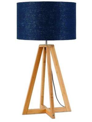 GOOD&MOJO Tafellamp bamboe 4-poten Everest, linen Denim blauw