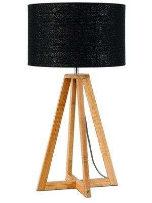 GOOD&MOJO Tafellamp bamboe 4-poten Everest, linen zwart