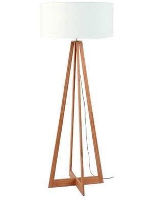 GOOD&MOJO Vloerlamp bamboe 4-poten Everest, linen wit