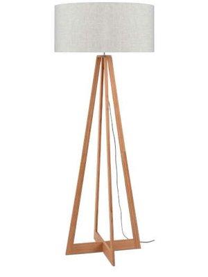 GOOD&MOJO Vloerlamp bamboe 4-poten Everest, linen licht