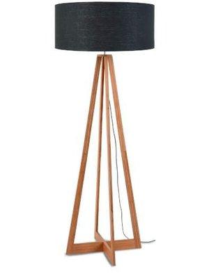 GOOD&MOJO Vloerlamp bamboe 4-poten Everest, linen donker grey