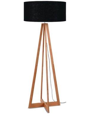 GOOD&MOJO Vloerlamp bamboe 4-poten Everest, linen zwart