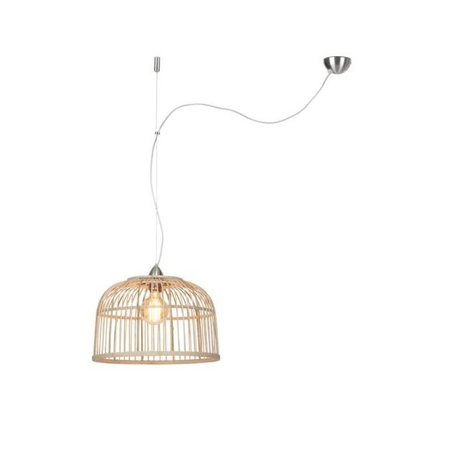 Hanglamp Borneo bamboo rond, single shade naturel, S