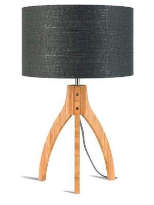 GOOD&MOJO Tafellamp bamboo 3-poten Annapurna, linen donker grey