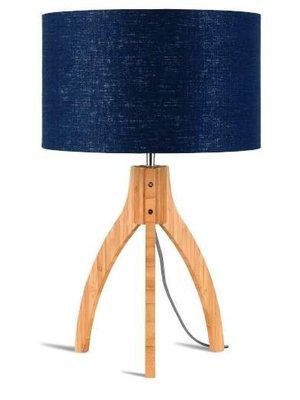 GOOD&MOJO Tafellamp bamboo 3-poten Annapurna, linen Denim blauw
