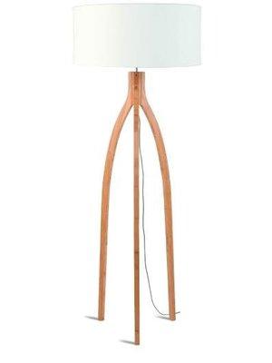 GOOD&MOJO Vloerlamp bamboo 3-poten Annapurna, linen wit