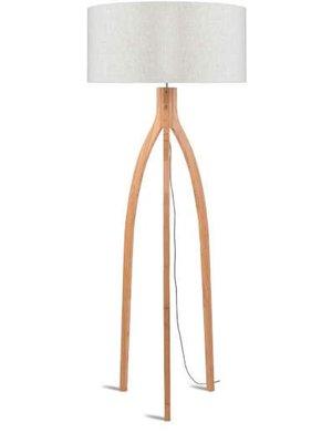 GOOD&MOJO Vloerlamp bamboo 3-poten Annapurna, linen licht