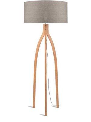 GOOD&MOJO Vloerlamp bamboo 3-poten Annapurna, linen donker