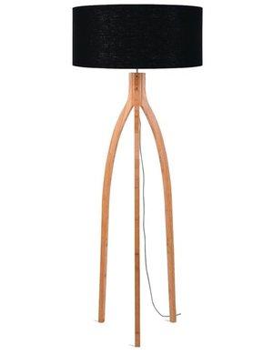 GOOD&MOJO Vloerlamp bamboo 3-poten Annapurna, linen zwart