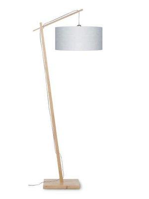GOOD&MOJO Vloerlamp Andes bamboo, eco linen, licht grijs