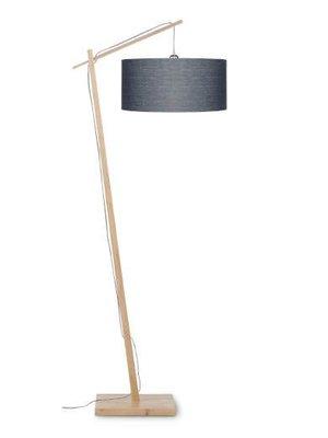 GOOD&MOJO Vloerlamp Andes bamboo, eco linen, donker grijs