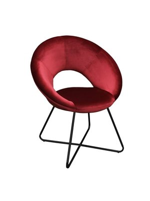 Kick Collection FAUTEUIL COCO VELVET ROOD ZWART FRAME
