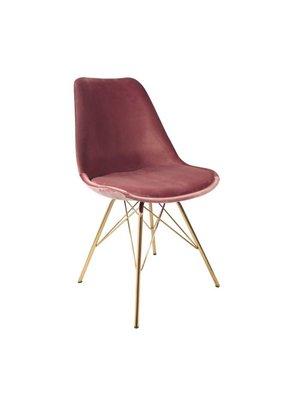 Kick Collection Kuipstoel Velvet Roze - Goud onderstel