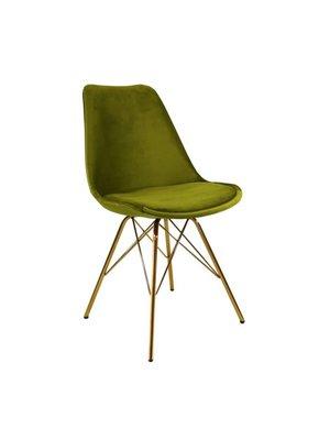 Kick Collection Kuipstoel Velvet Groen - Goud onderstel