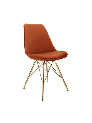 Kick Collection Kuipstoel Velvet Oranje - Goud onderstel