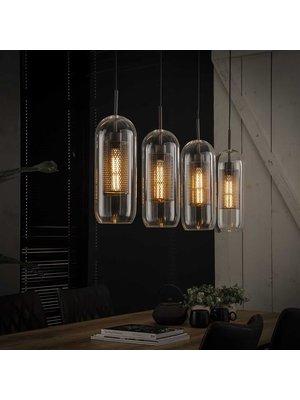 Alaska Hanglamp Glas Geperforeerd Staal, 4-Lampen Ø15cm