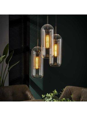 Alaska Hanglamp Getrapt Cilinder Glas, 3-Lampen Ø15cm