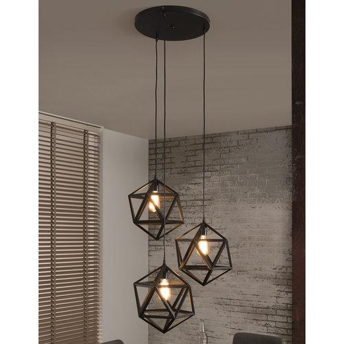 Alaska Hanglamp Zwart Triangle, 3-Lampen