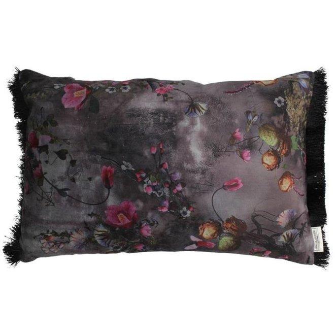 Kussen Flowers Velvet Grey 40x60cm