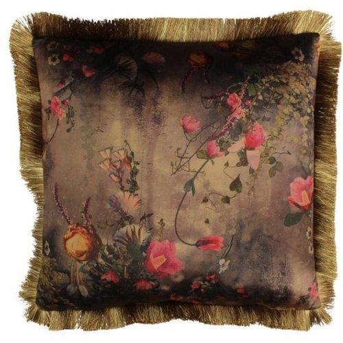 Kussen Flowers Velvet Brown 45x45cm