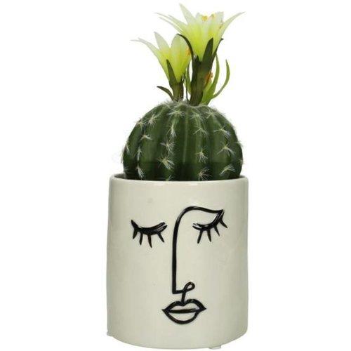 Plantenpot Face White 13x12x12cm