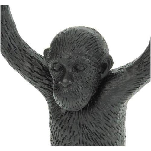 Kandelaar Monkey Polyresin Black 10.5x7.5x20cm