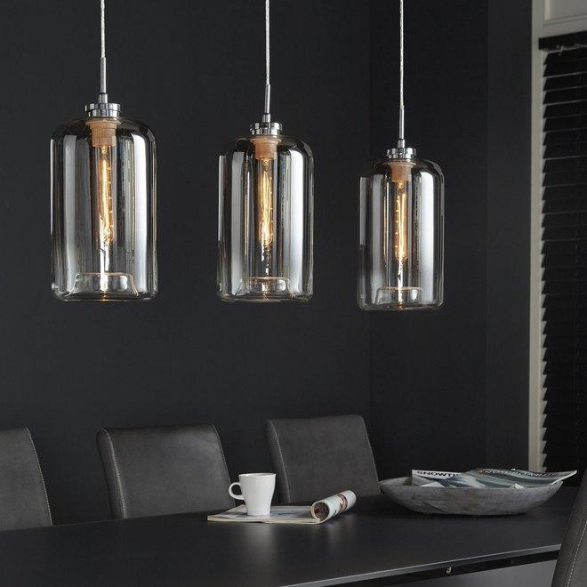 Hanglamp Glass Metallic Grey Finish - 3 Lampen