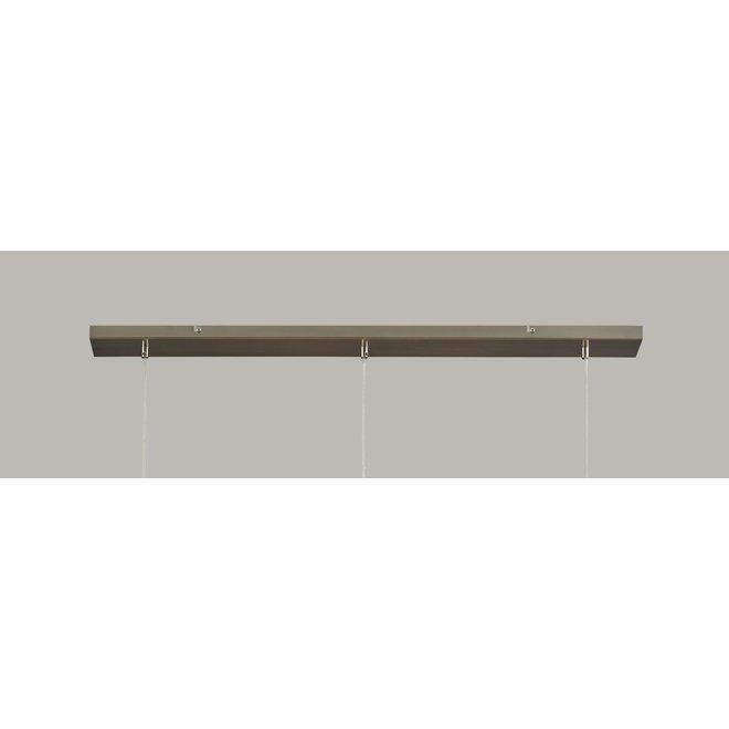 Hanglamp 3L glass metallic grey finish / Chrome