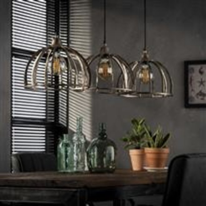 Hanglamp 3x Ø30 ribben zandgegoten aluminium / Antiek Nikkel