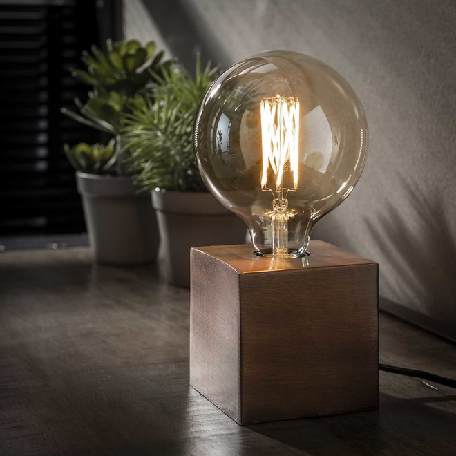 Tafellamp block/Antiek koper finish