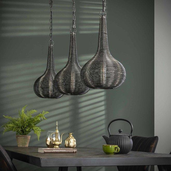 Hanglamp 3L wire kegel / Antiek Nikkel