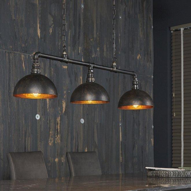Hanglamp 3L halfronde kap-industrial tube / Zwart