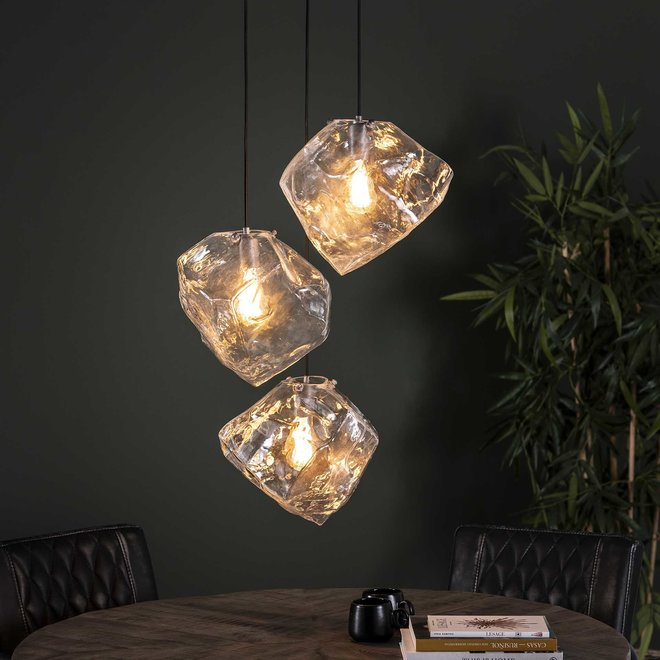 Hanglamp 3L rock clear getrapt / Transparant glas