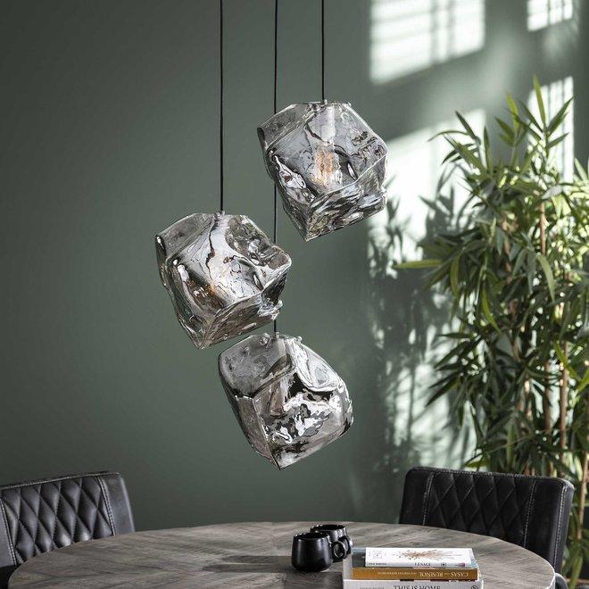 Hanglamp 3L rock chromed getrapt / Chromed glas