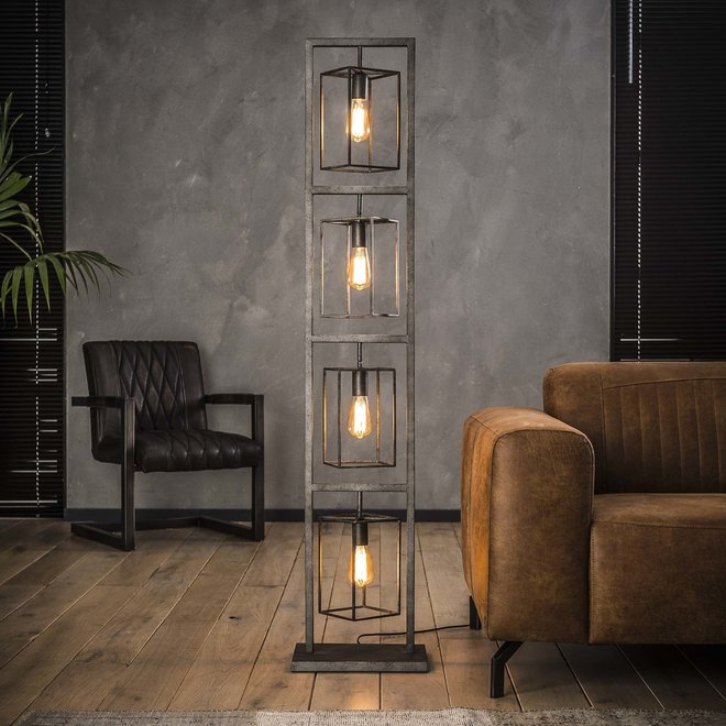 Vloerlamp 4x cubic tower / Oud zilver