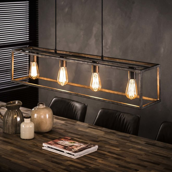 Hanglamp 4L cubic / Oud zilver