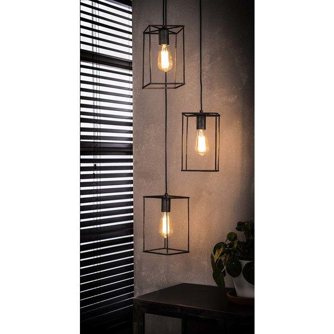 Hanglamp 3x cubic getrapt / Oud zilver