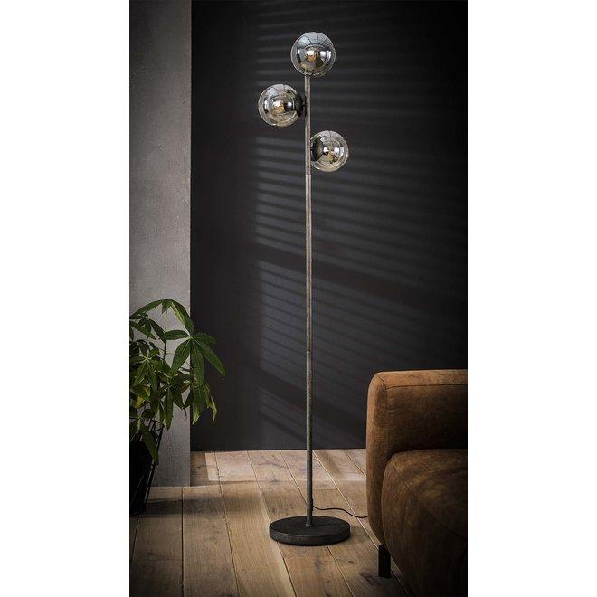 Vloerlamp 3x ronde bol / Oud zilver