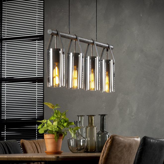Hanglamp 4xØ20 verchroomd glas / Oud zilver