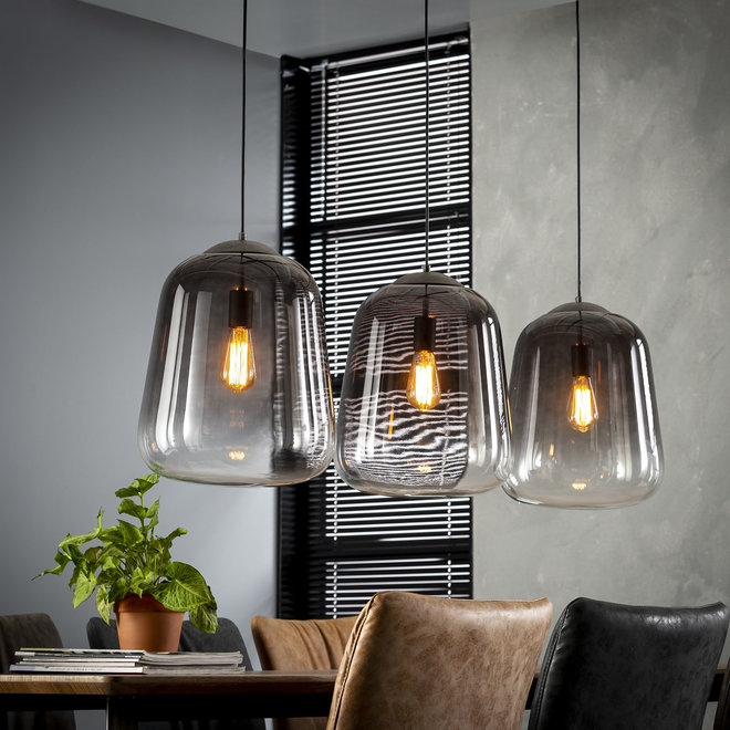 Hanglamp 3xØ32 shaded / Oud zilver