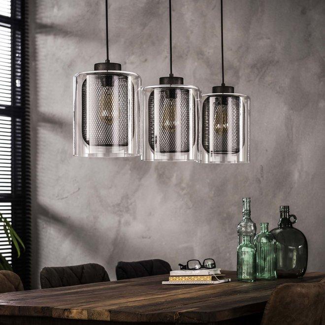 Hanglamp 3xØ20 raster-glas / Oud zilver