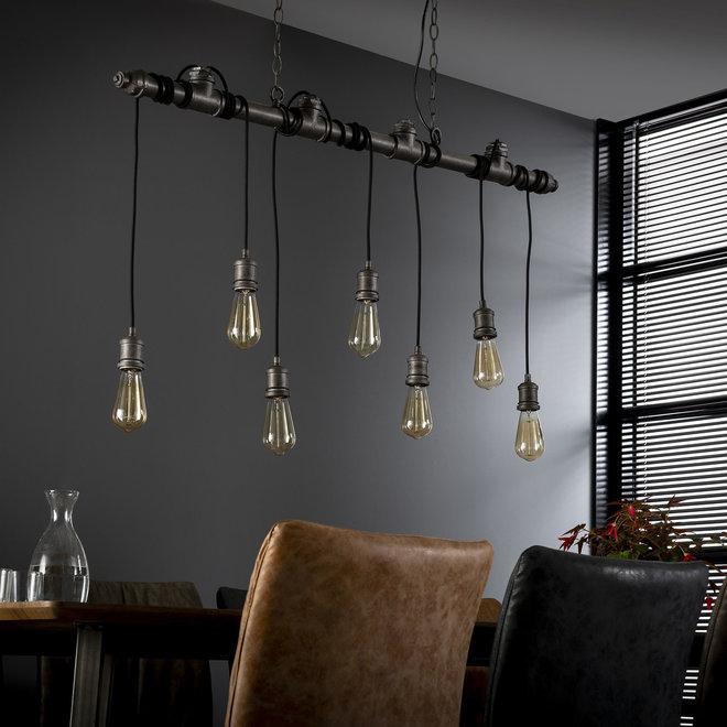 Hanglamp 7L industrial tube wikkel / Oud zilver