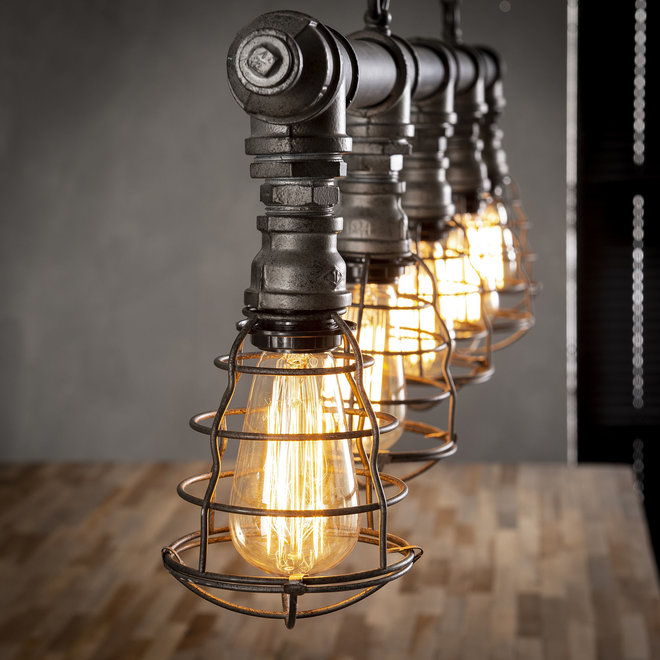 Hanglamp 5xØ12 industrial tube wire / Oud zilver