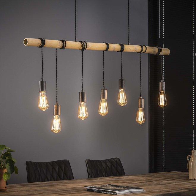 Hanglamp 7L bamboo wikkel / Oud zilver