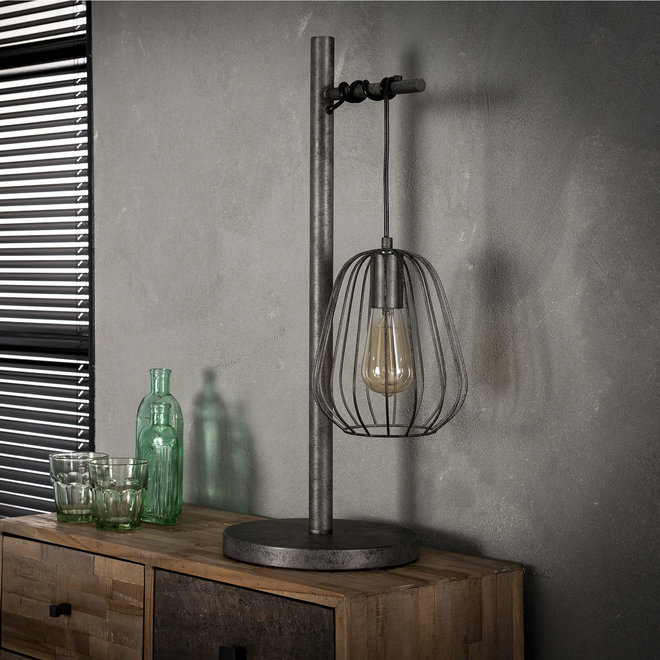 Tafellamp 1L lampoon / Oud zilver