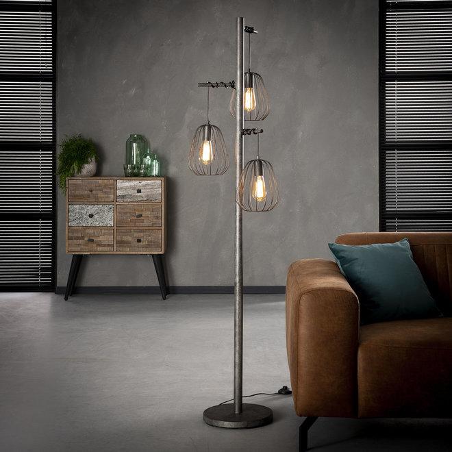 Vloerlamp 3L lampoon / Oud zilver